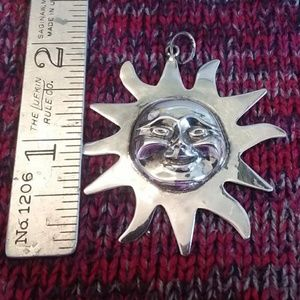 Big Sterling Silver Sun Face Pendant Marked .925